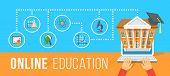 foto of online education  - Modern flat vector conceptual horizontal illustration of online education using computer - JPG