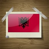 pic of albania  - Flags of Albania at frame on wooden texture - JPG
