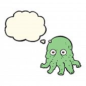 stock photo of squid  - cartoon alien squid face with thought bubble - JPG