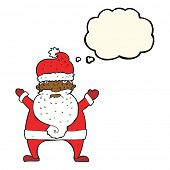 picture of ugly  - cartoon ugly santa claus with thought bubble - JPG