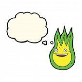 foto of fireball  - cartoon friendly fireball with thought bubble - JPG