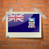 pic of falklands  - Flags of Falkland Islands scotch taped to a red brick wall - JPG