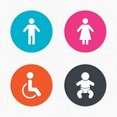 stock photo of female toilet  - Circle buttons - JPG