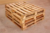 stock photo of wooden pallet  - wooden shipping pallet in standard dimensions wooden pallet - JPG