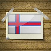 foto of faro  - Flags of Faroe Islands at frame on a brick background - JPG