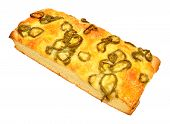 pic of fiery  - Cheese and fiery jalapeno pepper focaccia bread isolated on a white background - JPG