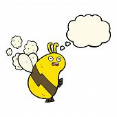 picture of bee cartoon  - funny cartoon bee with thought bubble - JPG