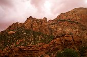 pic of naturel  - Beautiful lighting on red rocks during sunset in Zion National Park - JPG