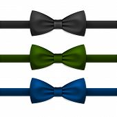 picture of tied  - Vector Bow Tie Bowtie Set Isolated on White Background - JPG