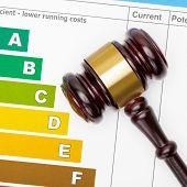 picture of fuel efficiency  - Wooden judge gavel over efficiency chart  - JPG