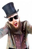 stock photo of queer  - Stylish hipster in weird outfit before an isolated background - JPG
