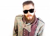 picture of queer  - Man in strange outfit with sunglasses over isolated background - JPG