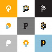 foto of letter p  - Set of letter P logo templates with drop and light bulb - JPG
