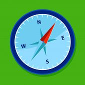 foto of compass rose  - blue compass in green background for camping - JPG