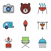 picture of trailer park  - Camping flat vector icon set for web and mobile applications - JPG