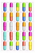 stock photo of paracetamol  - big set of different color capsule pills on white background isolated - JPG
