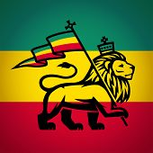 Постер, плакат: Judah lion with a rastafari flag King of Zion logo illustration Reggae music vector design