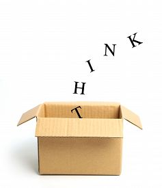 picture of thinking outside box  - Think outside the box concept isolated on white background - JPG