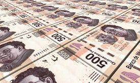 stock photo of pesos  - Mexican pesos bills stacks background - JPG