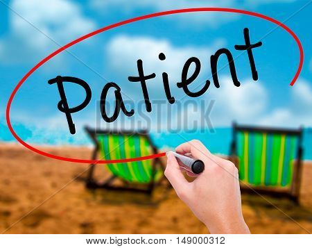 Man Hand Writing Patient With Black Marker On Visual Screen
