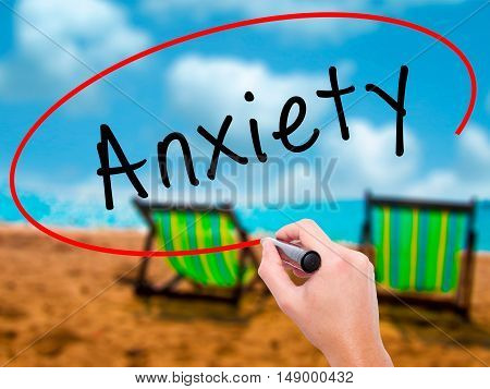 Man Hand Writing Anxiety With Black Marker On Visual Screen