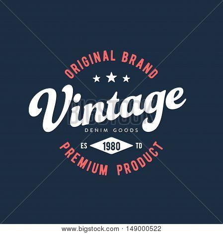 Vintage Original Brand Apparel Design. Vector illustration