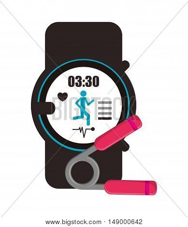 flat design heart rate wrist monitor and hand grip icon vector illustration
