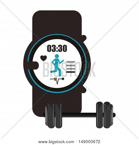 flat design heart rate wrist monitor and dumbbell  icon vector illustration