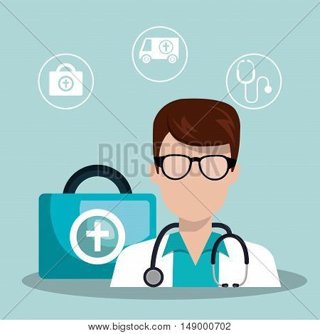 avatar medical doctor man with stethoscope and medicine icon set. colorful design. vector illustration