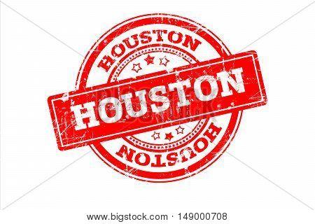 HOUSTON written on red grunge round vintage rubber stamp.