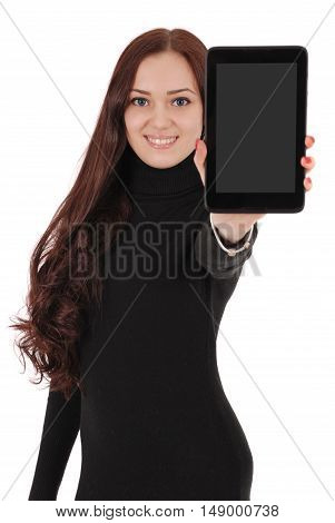 Smiling student teenage girl showing a tablet display application isolated on white. Focus on face teenage girl