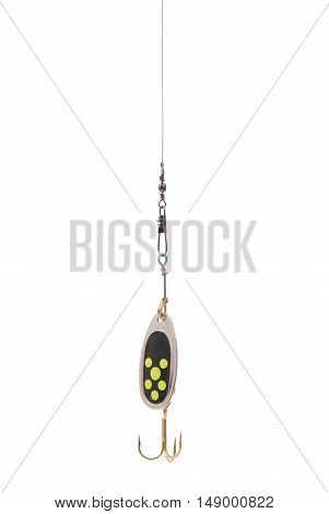 Black fishing spoon hanging top of the screen isolated on white