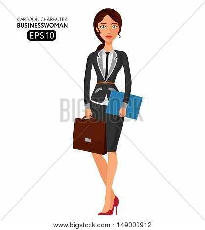 Business woman with a folder for papers flat cartoon vector illustration. Eps10. Isolated on a white background.