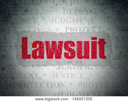 Law concept: Painted red text Lawsuit on Digital Data Paper background with   Tag Cloud