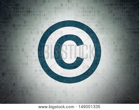 Law concept: Painted blue Copyright icon on Digital Data Paper background