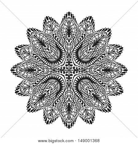 Ornamental round lace pattern. Vector illustration ethnic style