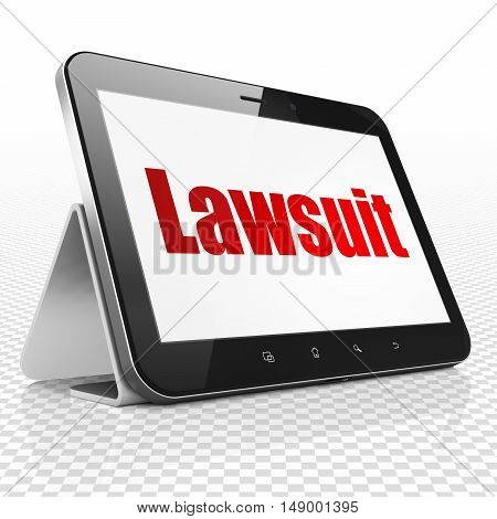 Law concept: Tablet Computer with red text Lawsuit on display, 3D rendering