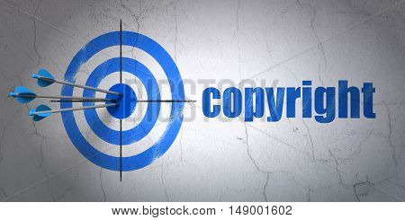 Success law concept: arrows hitting the center of target, Blue Copyright on wall background, 3D rendering