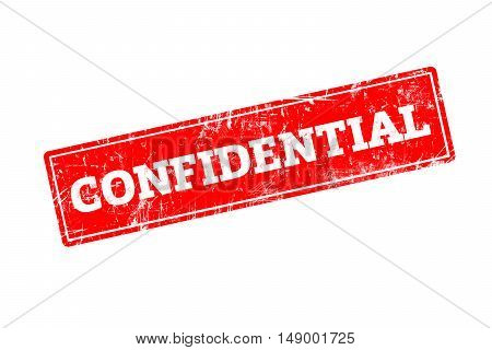 CONFIDENTIAL word written on red rubber stamp with grunge edges.