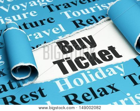 Travel concept: black text Buy Ticket under the curled piece of Blue torn paper with  Tag Cloud, 3D rendering