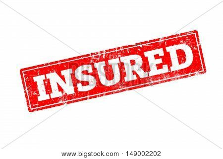 INSURED written on red rubber stamp with grunge edges.