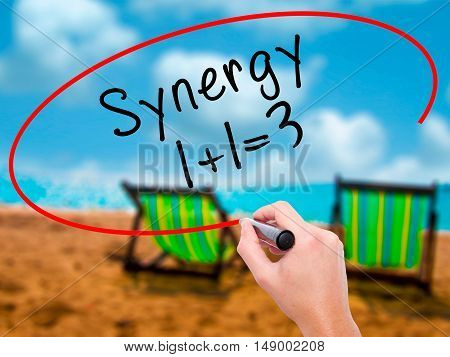Man Hand Writing Synergy Concept 1+1=3 With Black Marker On Visual Screen
