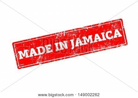 MADE IN JAMAICA, red rubber stamp with grunge edges.