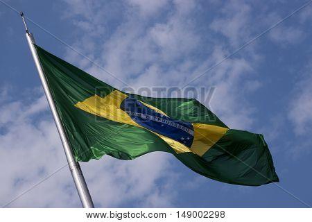 Brazil's flag national patriotism wind flying fluttering swinging