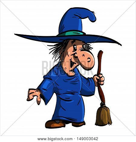 Cartoon illustration of Befana or a wtich with blue clothes and a broomstick.