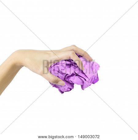Closeup action of woman hand catching purple crumpled paper in hand isolated on white background with clipping path