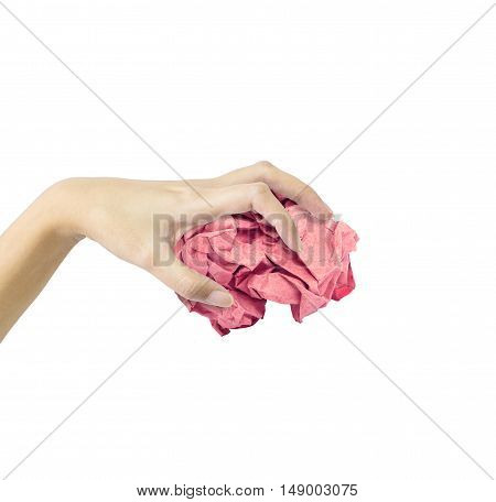 Closeup action of woman hand catching red crumpled paper in hand isolated on white background