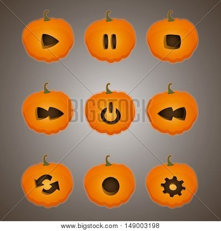 Vector illustration of buttons in the style of a pumpkin.