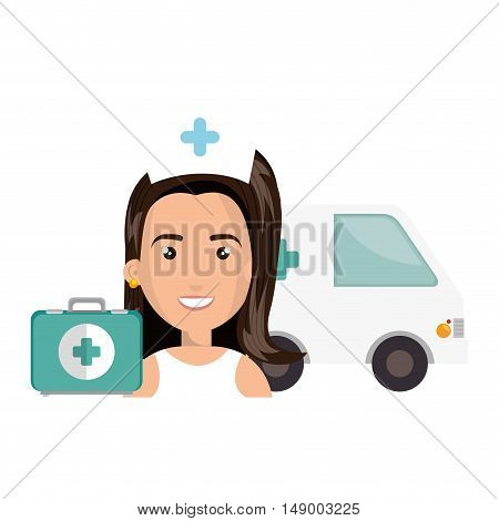 avatar woman nurse with emergency ambulance vehicle and medicine icon. colorful design. vector illustration