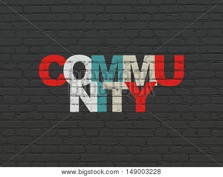 Social media concept: Painted multicolor text Community on Black Brick wall background